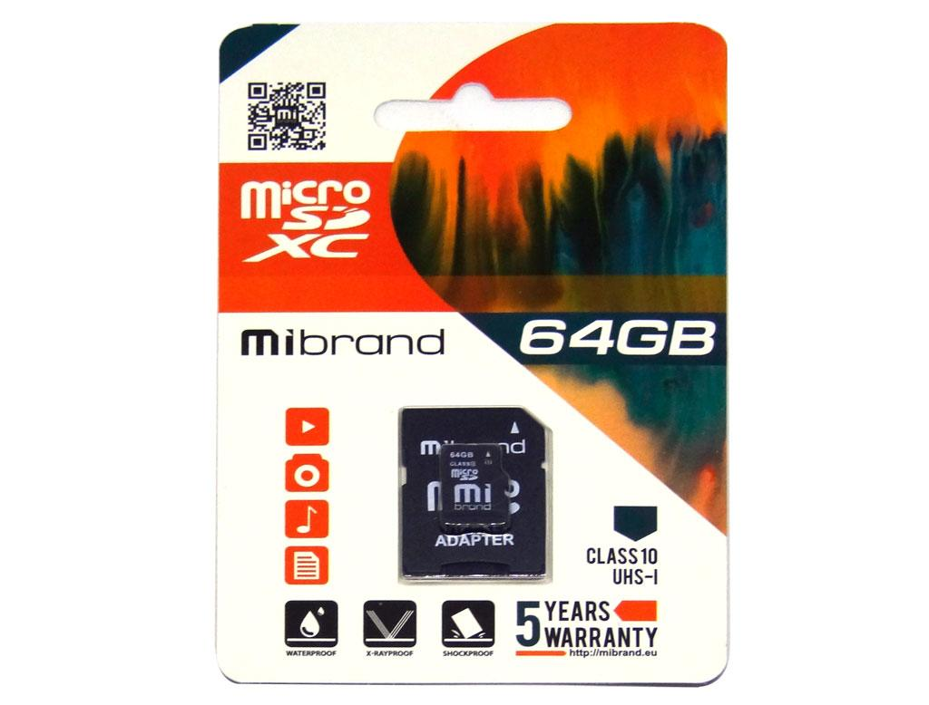 Карта памяти Mibrand 64GB microSD class10 UHS-1 +adapter (MICDXU1/64GB-A)