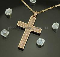 Шикарный кулон - крест с фианитами, покрытый золотом (313800)