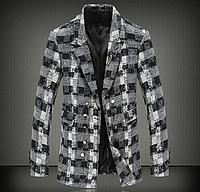 Мужское стильное зимнее пальто в клетку   МК 0138-И, фото 1