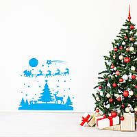 Новогодние наклейки на окна для дома, витрин магазинов, кафе, кухни, детской800х750мм Сказочная ночь Голубой