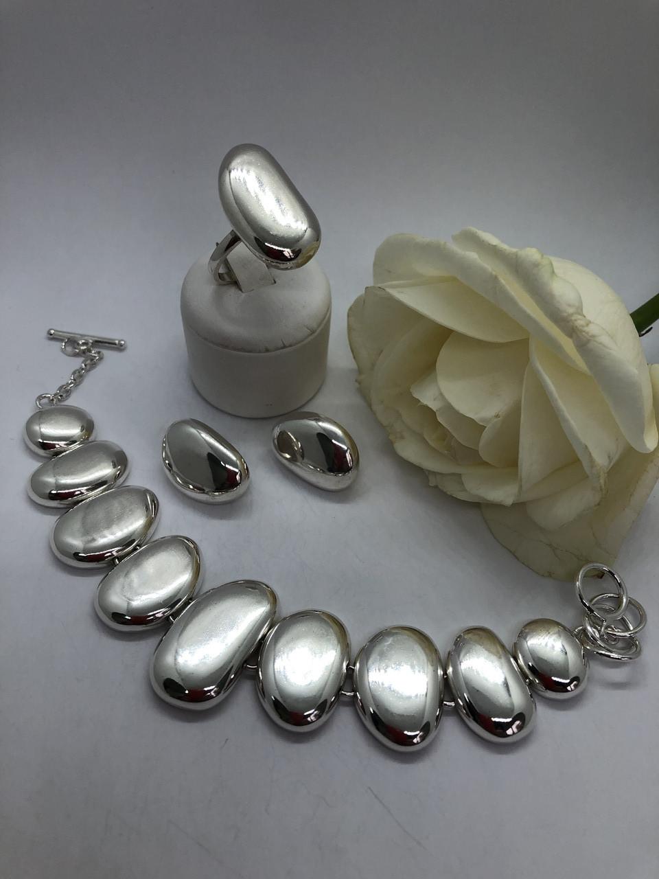 Комплект серебряных украшений Галька от Ирида-В
