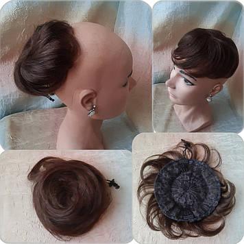 Шиньон из натуральных волос 2в1гулька накладка каштановый SELLI -A 4