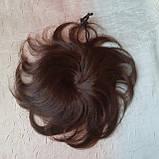 Шиньон из натуральных волос 2в1гулька накладка каштановый BL-A 4, фото 7