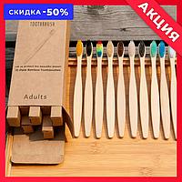Бамбуковые деревянные зубных щетки в наборе из разных цветов