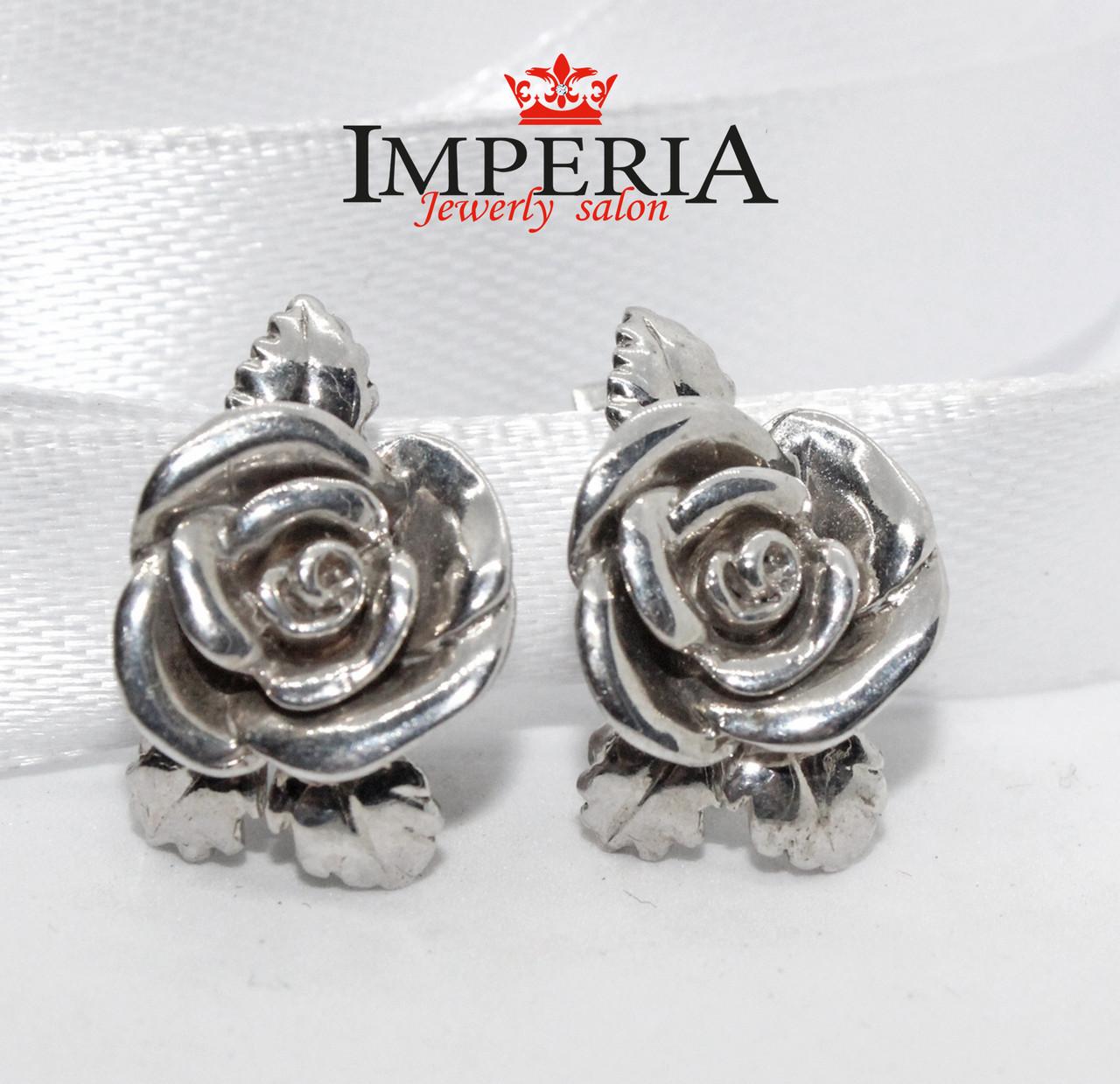 Серьги Розы серебряные женские