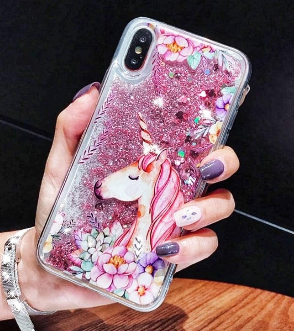 """Чехол жидкий блеск с рисунком """"Мультяшный Единорог"""" для Samsung Galaxy A50 (A505F)"""