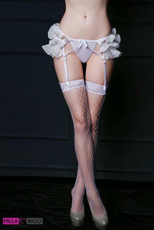 Нежный эротический комплект с поясом для чулок JSY 3684, Белый, S/M, Свадебное белье