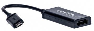 Кабель-переходник PowerPlant HDMI - micro USB, 0.15м, (MHL), Blister