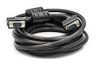Видео кабель PowerPlant VGA-VGA, 5м, Double ferrites