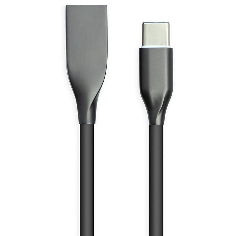 Кабель PowerPlant USB Type-C, 2м, силікон, чорний