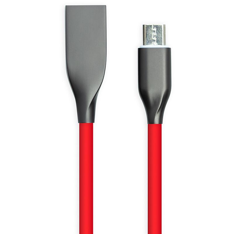 Кабель PowerPlant USB - microUSB, 2м, силікон, червоний