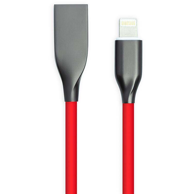 Кабель PowerPlant USB - Lightning, 1м, силікон, червоний