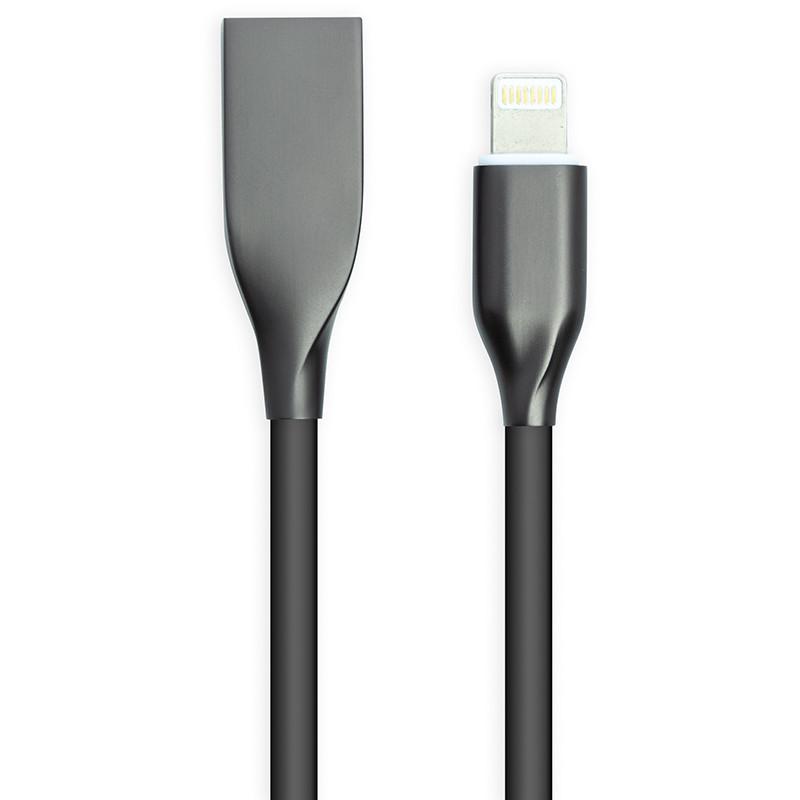 Кабель PowerPlant USB - Lightning, 1м, силикон, черный
