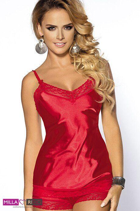 Роскошный атласный комплект майка и трусики-шортиками Anais Marcia Красный