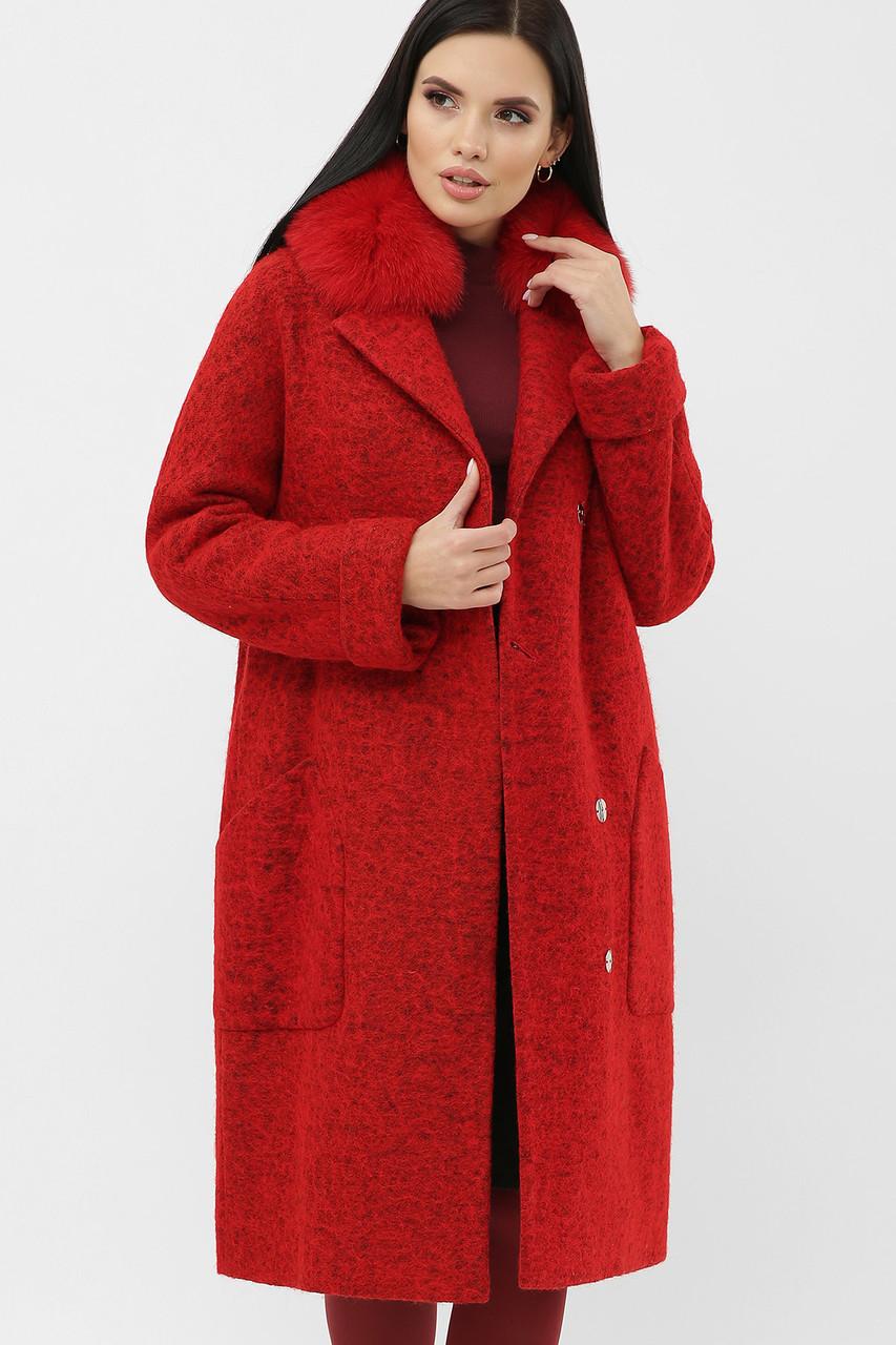 Шикарне яскраве червоне пальто жіноче з песцом розміри: 42,48