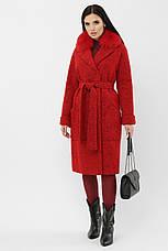 Шикарне яскраве червоне пальто жіноче з песцом розміри: 42,48, фото 3