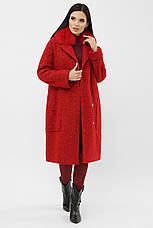 Шикарне яскраве червоне пальто жіноче з песцом розміри: 42,48, фото 2