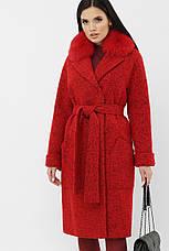 Шикарное яркое красное женское пальто с песцом размеры: 42,48, фото 2