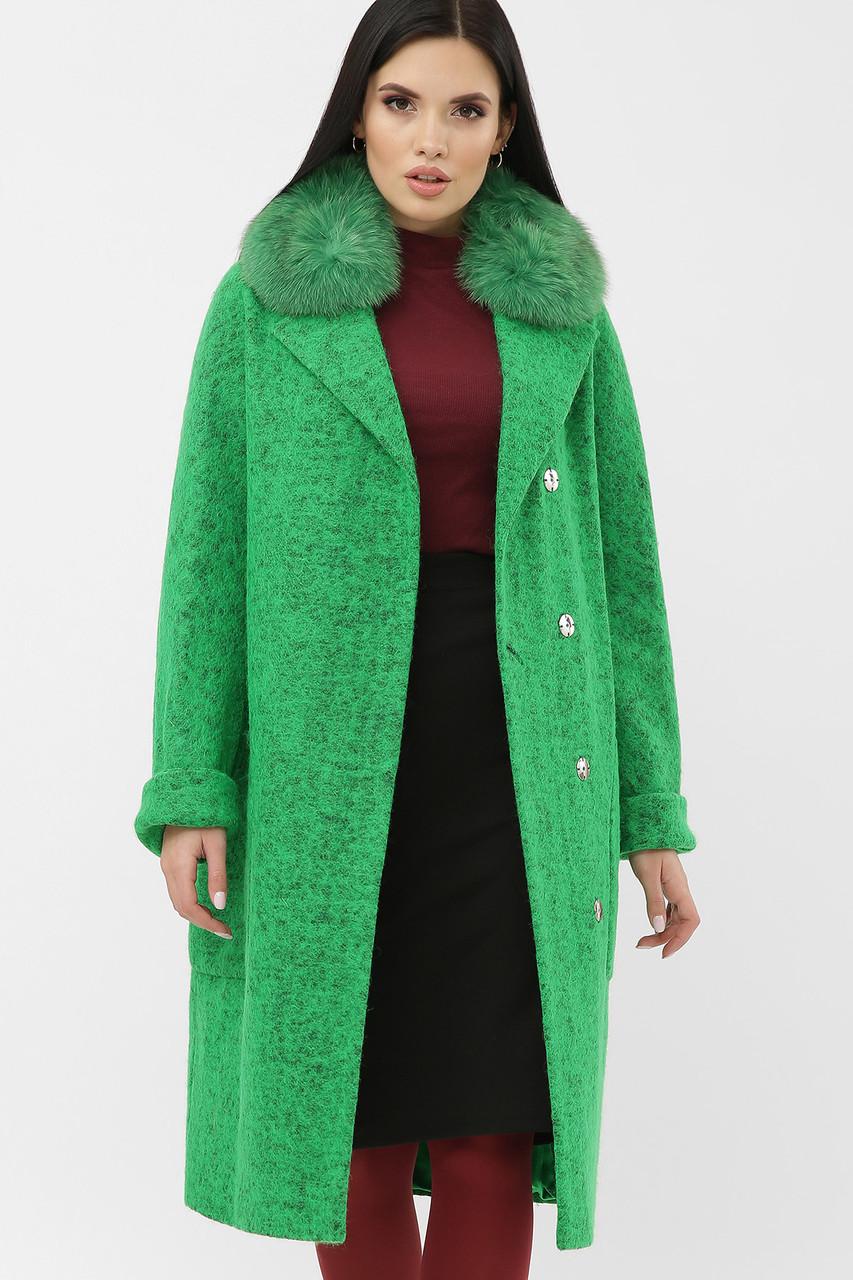 Шикарное яркое  женское пальто с песцом размеры: 42-48