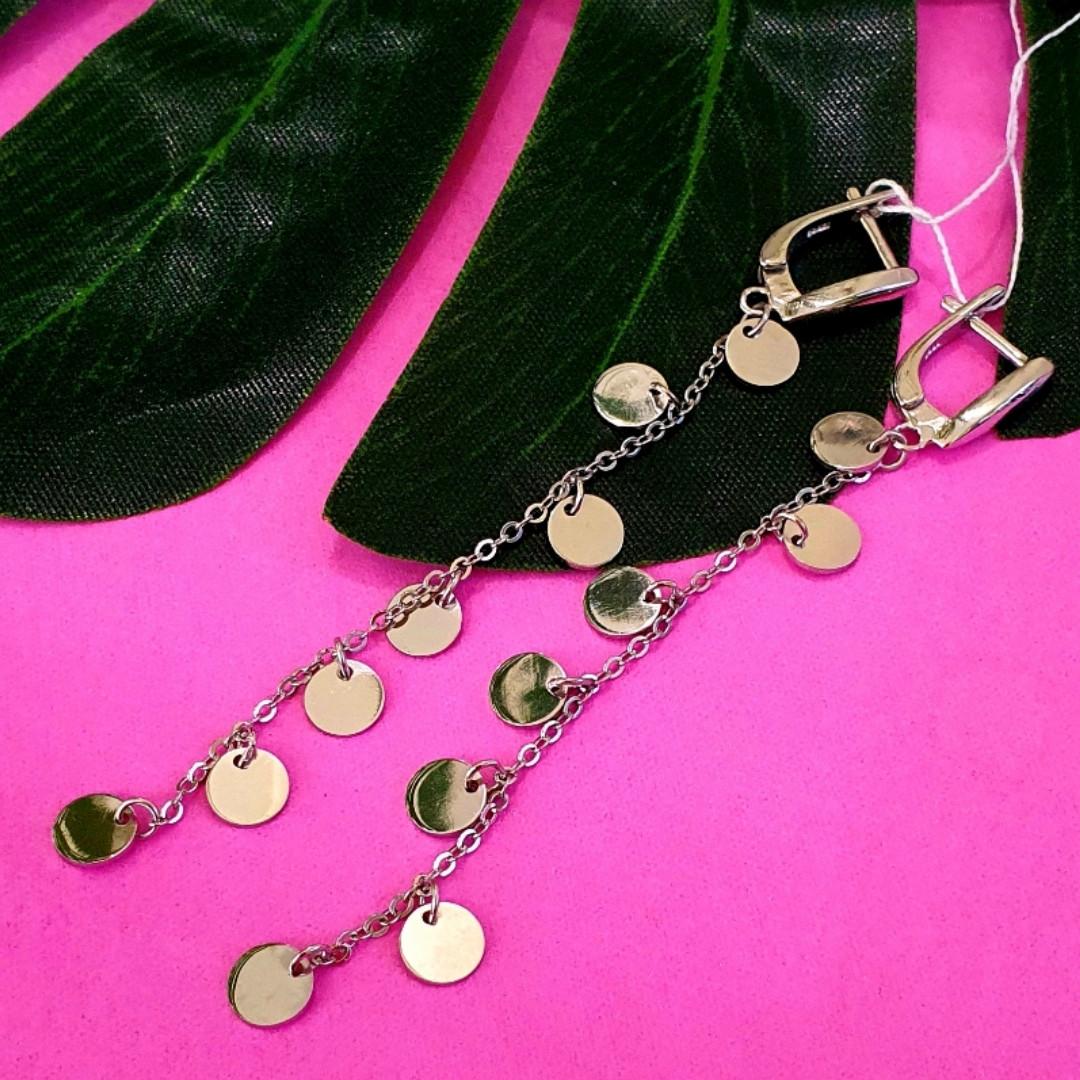 Длинные серебряные серьги с монетками - Серьги Монетки серебро - Серебряные серьги-висюльки