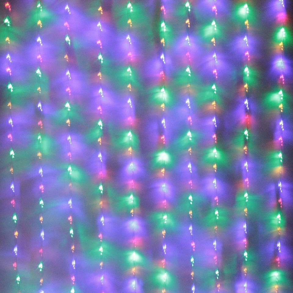 Светодиодная гирлянда Штора Водопад 3х2,5 480 LED Микс Новогодний Занавес с эффектом дождя на окно Лед 480-M