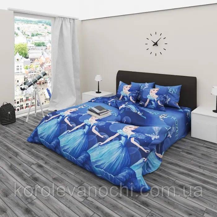 """Полуторный комплект (Бязь)   Постельное белье от производителя """"Королева Ночи""""   Холодное сердце на синем"""