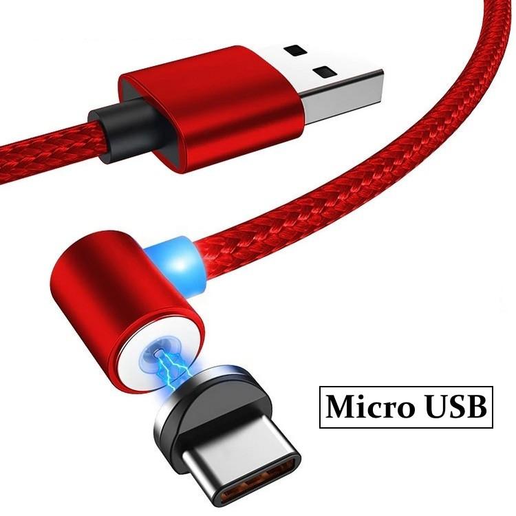 Магнитный кабель угловой ESSAGER для Micro USB 1м красный (0197unk)