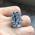 """Перстень """"чешуя дракона"""" с голубыми фианитами (цирконом), Размер 16 (N0178), фото 2"""