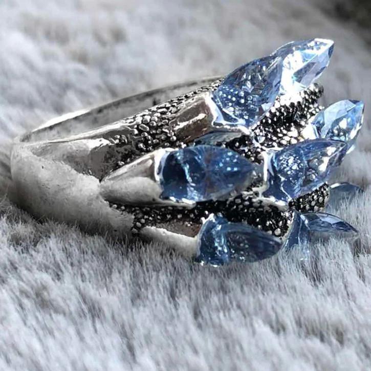 """Перстень """"чешуя дракона"""" с голубыми фианитами (цирконом), Размер 16 (N0178)"""