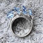 """Перстень """"чешуя дракона"""" с голубыми фианитами (цирконом), Размер 16 (N0178), фото 3"""