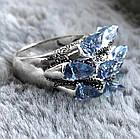 """Перстень """"чешуя дракона"""" с голубыми фианитами (цирконом), Размер 16 (N0178), фото 4"""