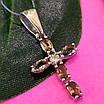Серебряный крестик с топазом раух - Женский серебряный крестик с кварцем раух топаз, фото 4