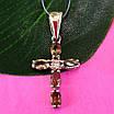 Серебряный крестик с топазом раух - Женский серебряный крестик с кварцем раух топаз, фото 3