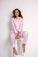 Пижама хлопковая с кантом в розовую полоску