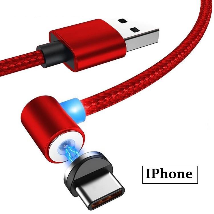 Магнитный кабель угловой ESSAGER для IPhone 1м красный (0197unk)