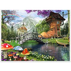 """Алмазная мозаика Lesko DIY K099 """"Сказочный домик в лесу"""" 40х30см вышивка стразами на холсте"""
