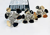 Срібний набір з золотом і чорною емаллю Поляна квітів, фото 4