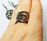 Широке срібне кільце з золотом і цирконом Енігма, фото 6