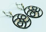 Стильні сережки з підвісом срібло Енігма, фото 3