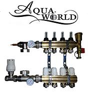 Коллектор в сборе на 2 выхода Aqua World для тёплого пола