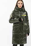 Женский зимний пуховик с капюшоном хаки 298, фото 2