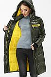 Женский зимний пуховик с капюшоном хаки 298, фото 3