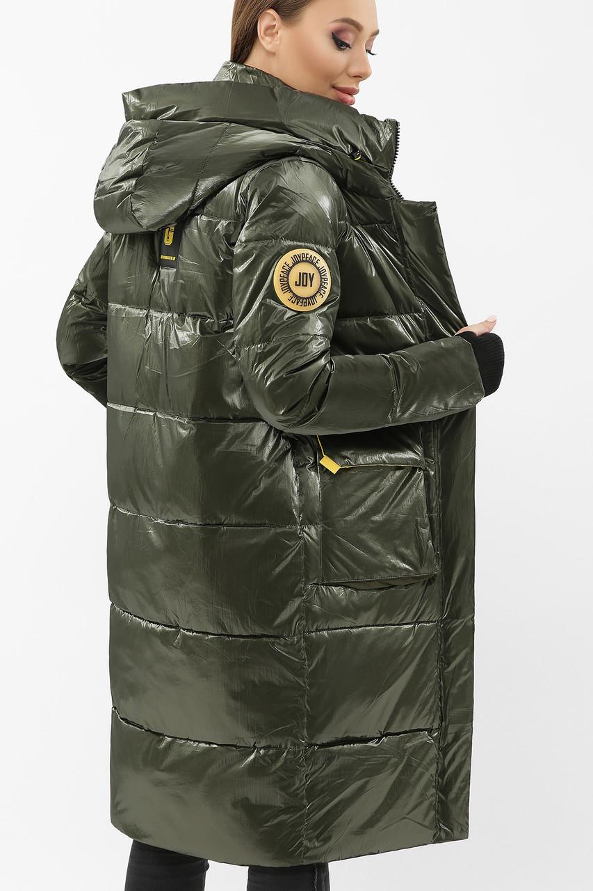 Женский зимний пуховик с капюшоном хаки 298