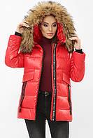 Женская зимняя куртка с мехом красная 8003