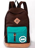 Городской рюкзак с цветным карманом 17 л., коричневый / аквамарин (цвет морской волны), URBANSTYLE, 002