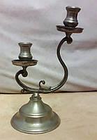 Оловянный канделябр на две свечи, клеймо, винтаж, Франция