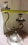Оловянный канделябр на две свечи, клеймо, винтаж, Франция, фото 3