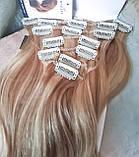 """Волосы натуральные на заколках(клипсах) пшеничный блонд REMY18""""-18/613, фото 4"""