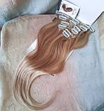 """Волосы натуральные на заколках(клипсах) пшеничный блонд REMY18""""-18/613, фото 3"""