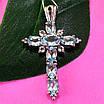 Серебряный крестик с голубым топазом - Женский крестик с топазом серебро, фото 4